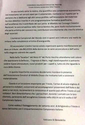 I comunicati ufficiali del 59° Campionato Italiano di Acconciatura a Trieste (novembre 2015)!