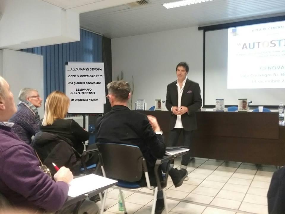 il coach motivazionale Giancarlo Fornei al Centro Anam di Genova - lunedì 14 dicembre 2015