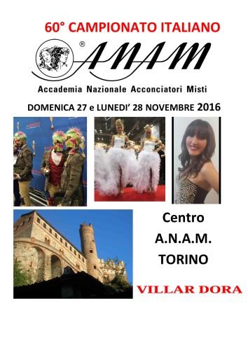 60° Campionato ITALIANO A.N.A.M. di ACCONCIATURA Maschile e Femminile (Torino - 27/28 novembre 2016)!
