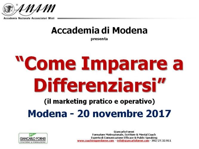 Accademia Anam Modena: lunedì 20 novembre seminario con il coach Giancarlo Fornei!